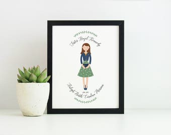 LDS Missionary Art Print, Custom Illustration, Personalized Portrait gift - SISTER MISSIONARY