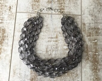 Gray Chunky Necklace, Beaded Necklace, Statement Necklace, ACRYLIC Necklace, Bridesmaid Necklace, Gray Wedding Jewelry