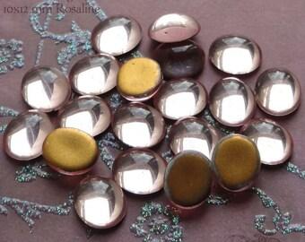 Vintage Cabochons - 10x12 mm Rosaline Pink - 6 West German Glass Stones