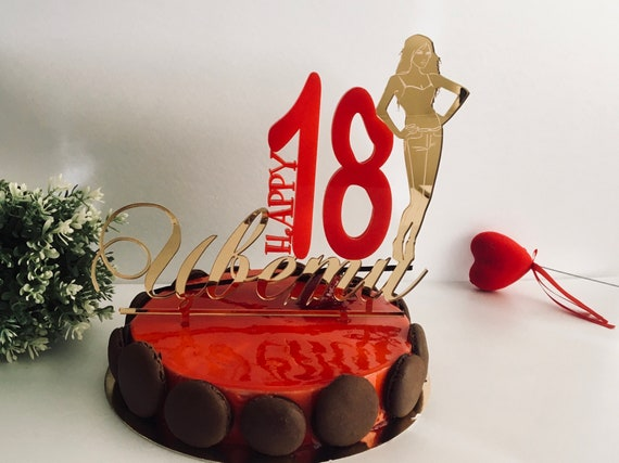 Custom 18th Birthday Cake Topper Happy Party Personalized Toppers Silhouette Girl Gold Red Eighteen Any Name Age 18th 20th 21th 25th 30th