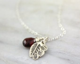 Stamped Leaves and Garnet Silver Charm Necklace