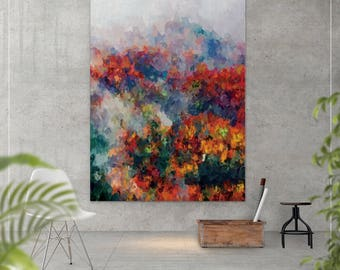 Warm Forest oil painting, Canvas print,  Abstract painting, Abstract Print, Modern Decor, Home decor, Landscape, Abstract art, Forest-924