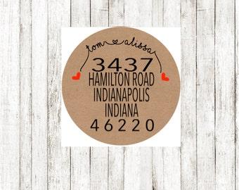 Return address label- custom- 2 inch circle, brown kraft or white photo gloss label, sticker, wedding announcements