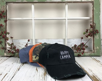 HAPPY CAMPER Dad Hat Embroidered Distressed Baseball Cap Low Profile Dad Hats Camping Baseball Hat Vintage Hat