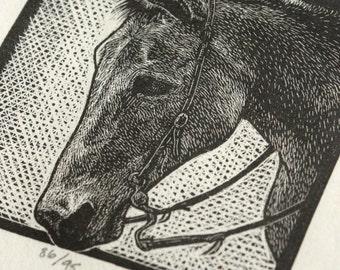 Western Mule Print - Country Decor - Mule Print - Original Wood Engraving