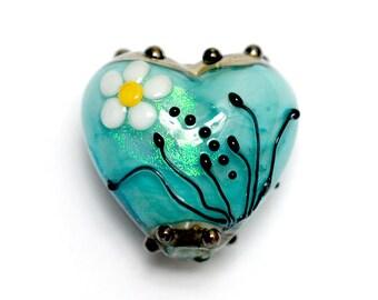 NEW! Handmade Glass Lampwork Bead - 11838605 Seafoam Florals Heart
