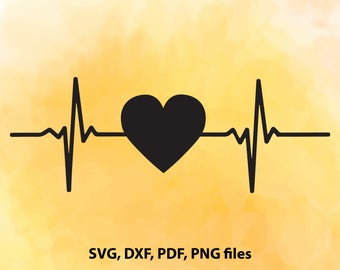 Heartbeat, Heart beat, SVG, DXF, PDF and Png Cutting files for Cutting machines, Cricut explore, Silhouette cameo, Design, Instant Download