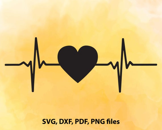 Heartbeat Heart Beat Svg Dxf Pdf And Png Cutting Files For