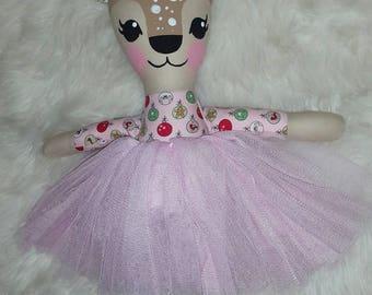 Reduced - Tinsel the Christmas reindeer doll - handmade doll