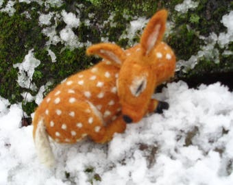 Fawn in the Winter Snow Needle Felted Sculpture