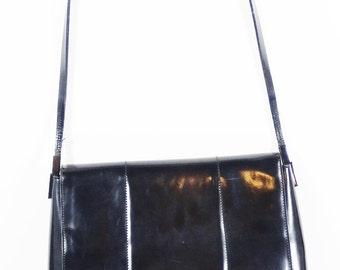 Enzo Angiolini Black Patent Leather Shoulder Bag