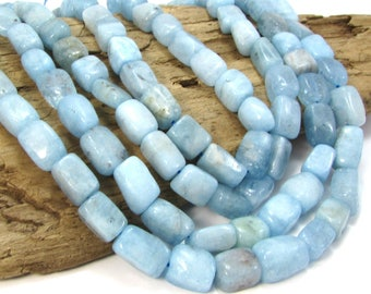 "Blue Aquamarine Nuggets, Oval 16"" inch Strand Aquamarine Beads, Aquamarine Gemstone Beads, Beading Supplies,  Item 442gss"