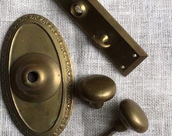 Antique Brass Door Knob Set Door Plates and Lock Hardware