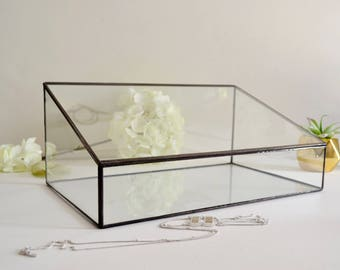 "Glass Box, Large Glass Display Box, 10.5"" x 14"", Wedding Display Box, Gift For Girlfriend, Gift for Mom, Clear Glass Jewelry Box"