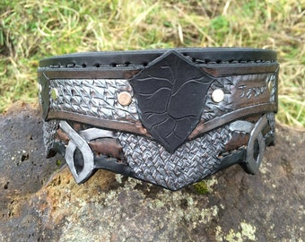Elven Inspired Leather Hand Tooled Dog Collar