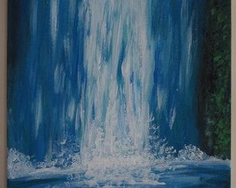 Acrylique peinture cascade, œuvre d'art, décoration