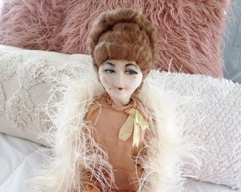 Vintage French boudoir doll antique flapper girl sofa bed doll