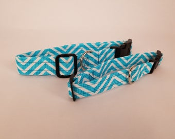 Blue Zig-Zag Dog Collar