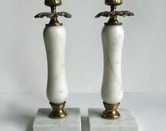 Vintage Ornate White Marble and Brass Candlesticks, Fancy Marble Candlestick Holders, Wedding Gift Candlesticks
