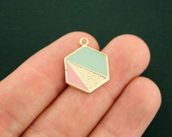 2 Geometric Charms Gold Tone and Enamel Soft Pink and Blue - GC1247