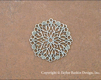 Antiqued Sterling Silver Plated Victorian Filigree Circle Component (item 340 AS) - 12 Pieces