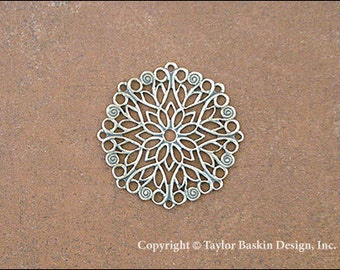 Antiqued Sterling Silver Plated Victorian Filigree Circle Component (item 340 AS) - 6 Pieces