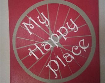 My Happy Place Sign, Bike Sign, Bicycle Sign, Bicylce Wall Decor, My Happy Place Wall Art, Rustic Wood Sign, Distressed Wooden Wall Sign