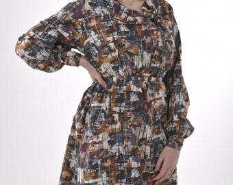 Vintage 1970's Mellor Abstract Dress 14 - www.brickvintage.com
