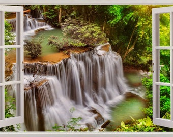 Waterfall Thailand Forest View 3D Effect Wall Sticker Art Decal 645