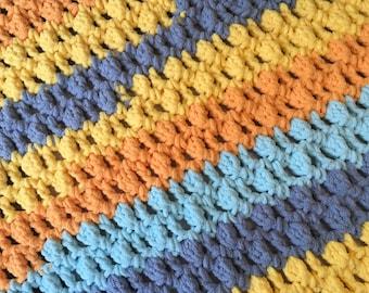 Crochet Baby Blanket, Handmade Blanket, Striped Crochet Blanket, Baby Blanket, Stroller Blanket, Newborn Photo Prop, Gender Neutral