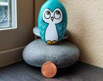 Teal Owl (Rock Painting)