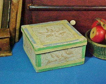 Antique c 1860 Small Square Wallpaper Band Box, Flowers, Green and Yellow