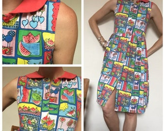 80s vintage watermelon print dress sailor collar, summer dress spring uk 10/12