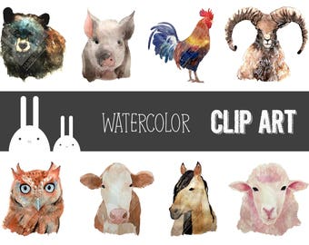 Watercolor Farm Animal Clip Art Set - Personal & Commercial Use