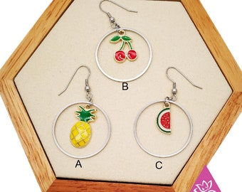 1 pair rings fruit tropical pineapple cherry customize watermelon red yellow green clip hypoallergenic sensitive skin as possible