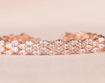 Rose Gold Crystal Bridal Bracelet, crystal Wedding Bracelet, Bridal Jewelry, Wedding Jewellery, Bridesmaid Jewelry, Elizabeth Bracelet
