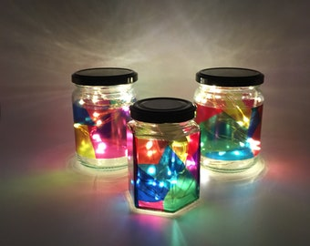 LED light jar, upcycled glass jar, stained glass effect, handmade, multicoloured, gift, present, rainbow colours, outdoor decoration, garden