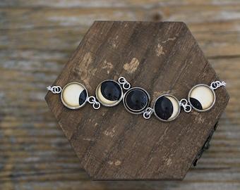 Solar Eclipse Bracelet, Solar Eclipse, Sun Eclipse, Sun Bracelet, Solar Eclipse Phases, Phase Bracelet, Solar System Bracelet, Space Jewelry