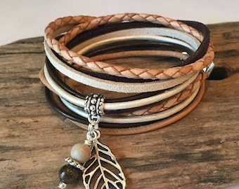 Boho Wrap Bracelet, Braided Leather Bracelet, Natural Tan, Brown, Cream, choose your charm, Gypsy Wrap, Custom, Double wrap, Charm Bracelet,