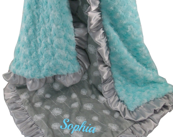 Robin's Egg Blue with Silver Gray Dandelion Minky Baby Blanket, Saltwater Rose Swirl with Gray Dandelion Print Baby Blanket, in three sizes