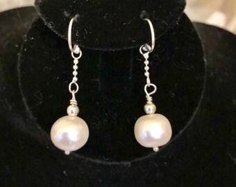 Sterling Silver 9mm Pearl Earrings