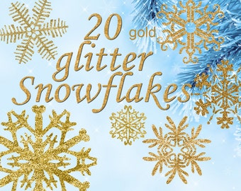 Digital 20  Golden Glitter Snowflakes, 20, snowflakes clipart, winter christmas clip art, new year Digital Collage, Instant Download