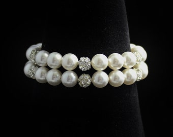 Pave Crystal and Pearl Bracelet, Ivory Pearl Bridal Bracelet, Wedding Jewelry, Bridal Jewelry, Bridesmaid Bracelet