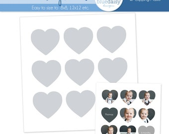 20 x 20 Storyboard with 9 Hearts - Photographer Photoshop Template