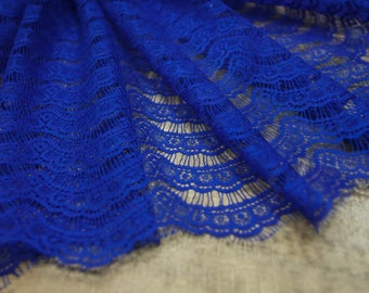 Royal blue lace fabric Embroidered lace Royal blue wedding lace Royal blue bridal lace French lace Royal blue  Chantilly lace Lace by 1 yard
