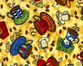 Cotton Fabric Quilting Robert Kaufman Coffee Mugs SUPERIOR QUALITY