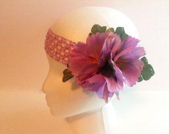 Floral Headband, Purple Floral Headband, Ladies Headband, Teen Headband, Girls Fancy Headband,Woman's Headband,Womans Headband,Headband FH57