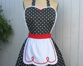 Retro apron LUCY  black polka dot  with red apron sexy hostess gift is vintage inspired flirty womens full apron