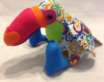 Rainbow themed stuffed toucan/parrot/stuffed bird