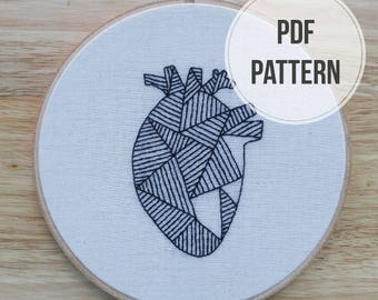 PDF Embroidery Pattern, Digital Download, Geometric Anatomical Heart Embroidery